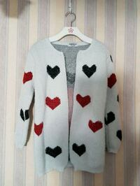 white and red polka dot button-up cardigan Surrey, V3V
