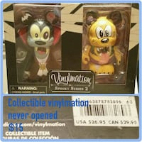 two dracula Mickey Mouse and Goofey vinyl figures with window pack photo collage Edmonton, T5X 1T7