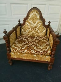 Antique Wood & Upholstered Throne Chair Oakville, L6H