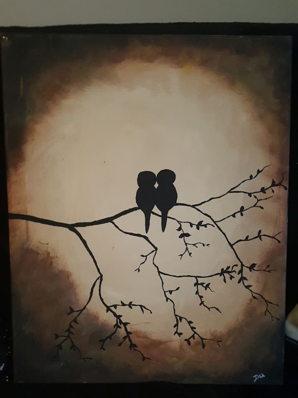 2 birds in a tree painting