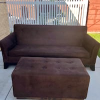 Reupholstered Brown Suede Couch w/Ottoman Chicago, 60652