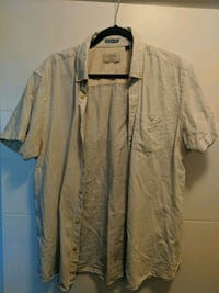 White lined men's large button up shirt