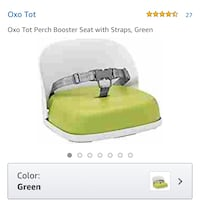New, unused  Oxo Tot Perch Booster Seat with Straps, Green 514 km