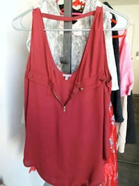 burgundy blouse. Large