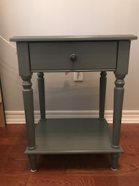Gray Side Table with Drawer