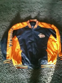 black and orange zip-up letterman jacket