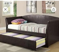 Leather trundle day bed with two new twin mattreses
