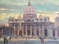 Amazing Large Vatican St. Peter's Square original oil on canvas painting. Mississauga, L4W