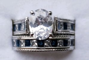 Sterling silver oval cut lab diamond and sapphire