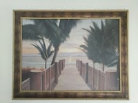 brown wood frame of wooden dock in the beach with palm trees painting