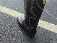 pair of black leather ostrich skin cowboy boots Arlington, 76010