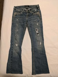 "Women Silver bootcut jeans size 26""  hardly worn"