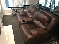 Brown leather 2-seat recliner sofa Falls Church, 22042