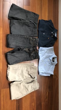 Boys size 5 shirts and 3 pair of size 5/6 pants. Brand names of shirts are H&M and pants are old navy. Edmonton, T6R 0B1