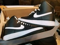 black-and-white Nike Air shoes with box