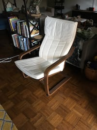 white and brown fabric padded armchair 119 mi