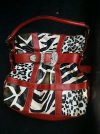 white, black, and red leather tote bag Tuscaloosa, 35405