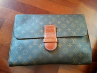 Pochett Louis Vuitton in pelle blu e marrone 6978 km