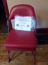 red and white plastic chair Wayland