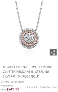 Mirabela 1/4 ct Diamond Cluster Pendant in Sterling Silver and Rose Gold Orlando, 32803