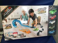 Air Chargers Twisted Turn Crashway Playset BNIB Green Car  TWO SETS FOR ONLY $20 Many available for purchase.  Description Features Additional Info Product Description  Pump up the action, you control the power of your jumps, stunts and crashes. Air Charg