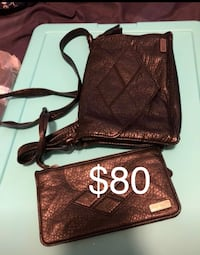 quilted brown leather wristlet