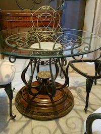 Hutch, glass top wrought iron table, and 4 chairs Charlotte, 28278