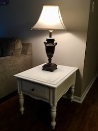 Wooden table lamp with white lampshade