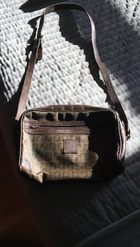 Monogrammed brown fendi leather crossbody bag