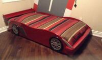 Race red car single twin bed no mattress Markham, L3R 7Y5