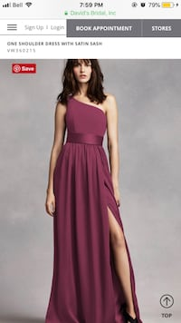 Beautiful Vera Wang One Shoulder Dress with Satin.
