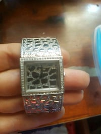 square silver chronograph watch with link bracelet Glenfield, 2167