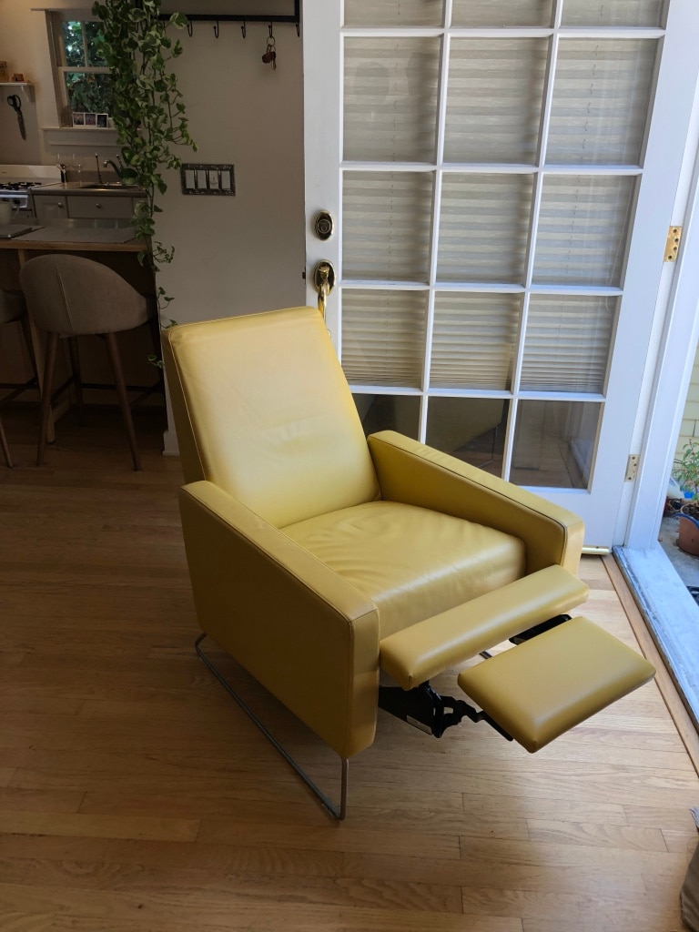 Design Within Reach Jeffery Bernett Flight Recliner Lounge Chair Yellow  Leather