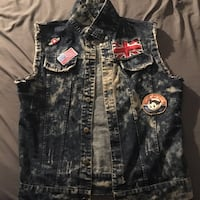 black and gray denim vest