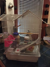 Bird cage for a small bird, toys and food.