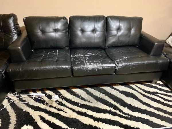 Pleasant Black Leather 3 Seat Sofa Come Bed Its Negotiable Uwap Interior Chair Design Uwaporg