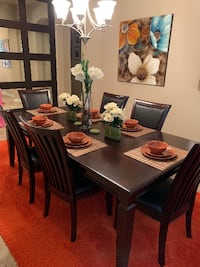 rectangular brown wooden table with six chairs dining set 1367 mi