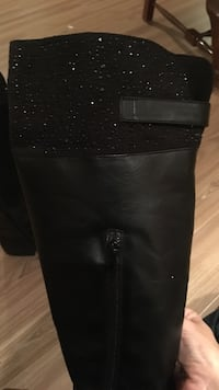 black leather riding boots with crystal size 7- excellent condition Saint-Lazare, J7T
