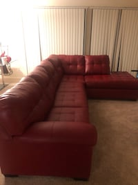 Military guy letting red leather sectional couch go for almost nothing Beltsville, 20705