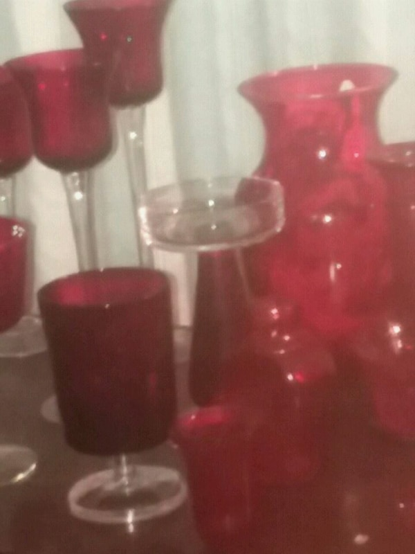 red and black glass cups