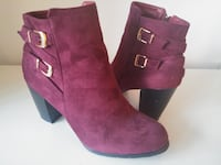 Burgundy Buckled Ankle Booties 10 Vancouver