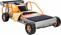 gray and yellow car bed frame