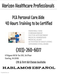 Personal Care Aide PCA Sterling