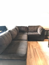 Black leather sectional sofa with ottoman Washington, 20002