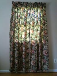2 Sets of Floral Green Curtains 42 x 84 West Springfield