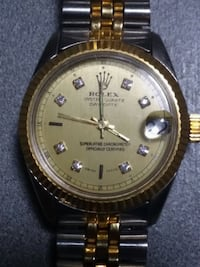 round gold-colored analog watch with link bracelet Mount Gilead, 27306