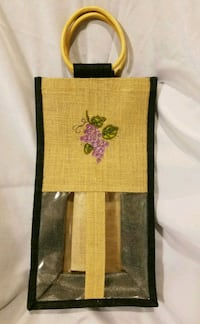 Burlap Wine Bag with Bamboo Handles