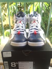pair of gray Air Jordan 5's with box Los Angeles, 90028
