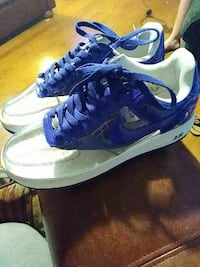 blue-and-white Nike Air sneakers