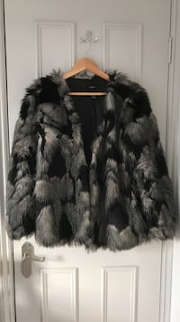 Black and gray fur coat London, SW18 2AW